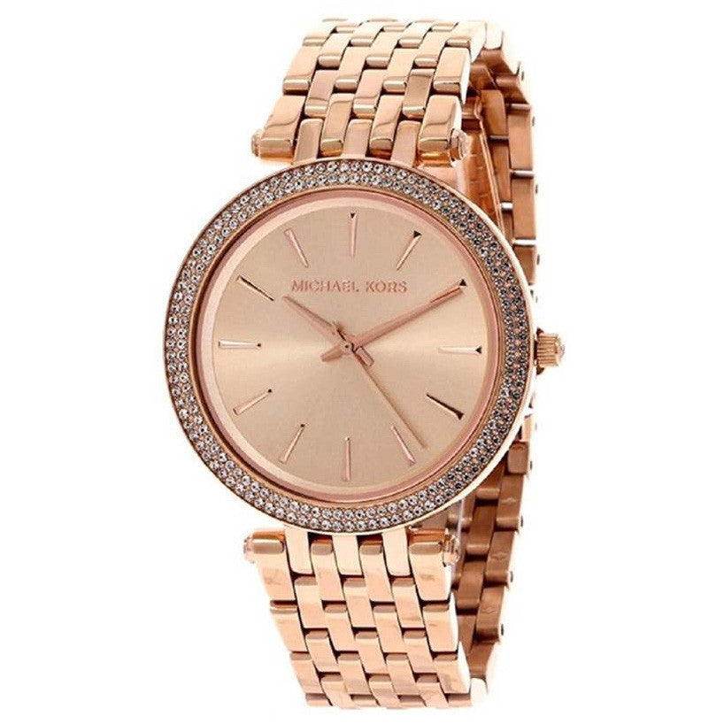 Darci Rose Gold Dial Pave Bezel Ladies Watch