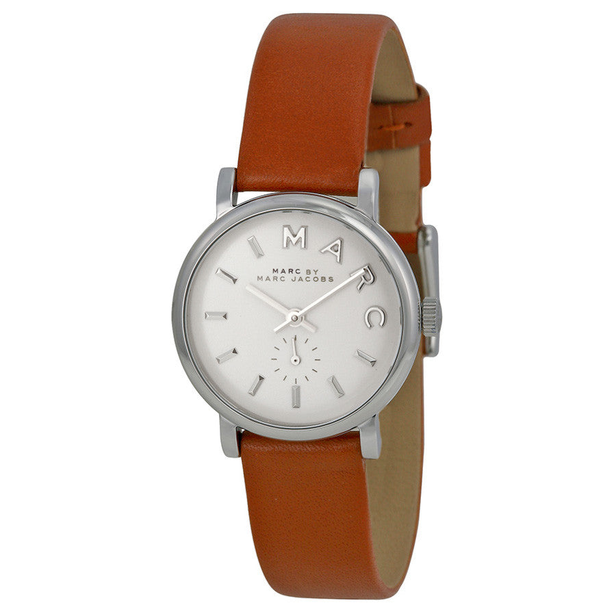 Baker Mini White Dial Brown Leather Ladies Watch