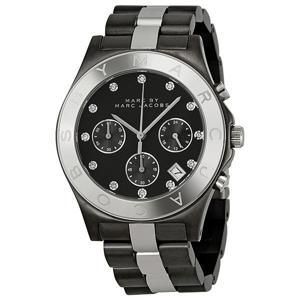 Blade Chronograph Gunmetal and Silver-Tone Ladies Watch