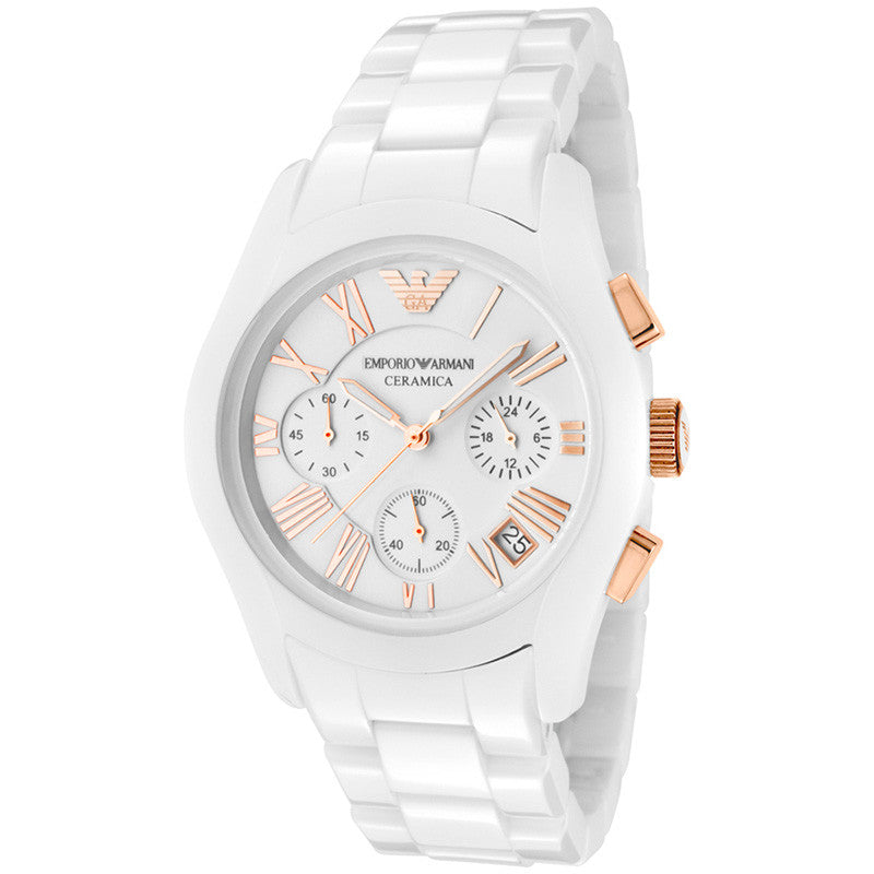 Ceramica Chronograph White Dial White Ceramic Ladies Watch