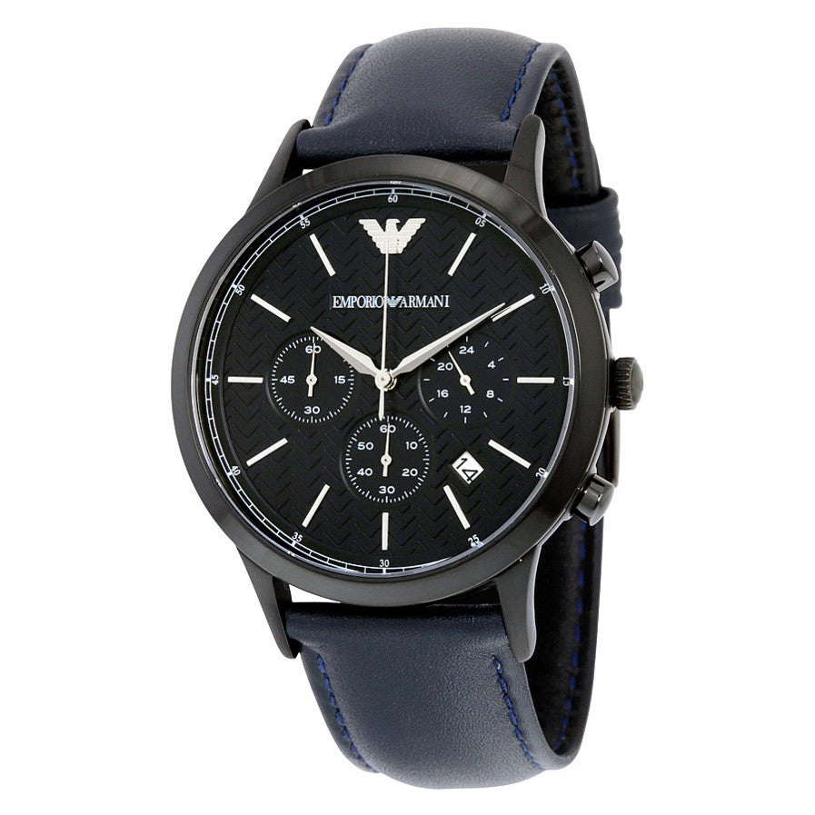 Chronograph Black Dial Blue Leather Men's Watch
