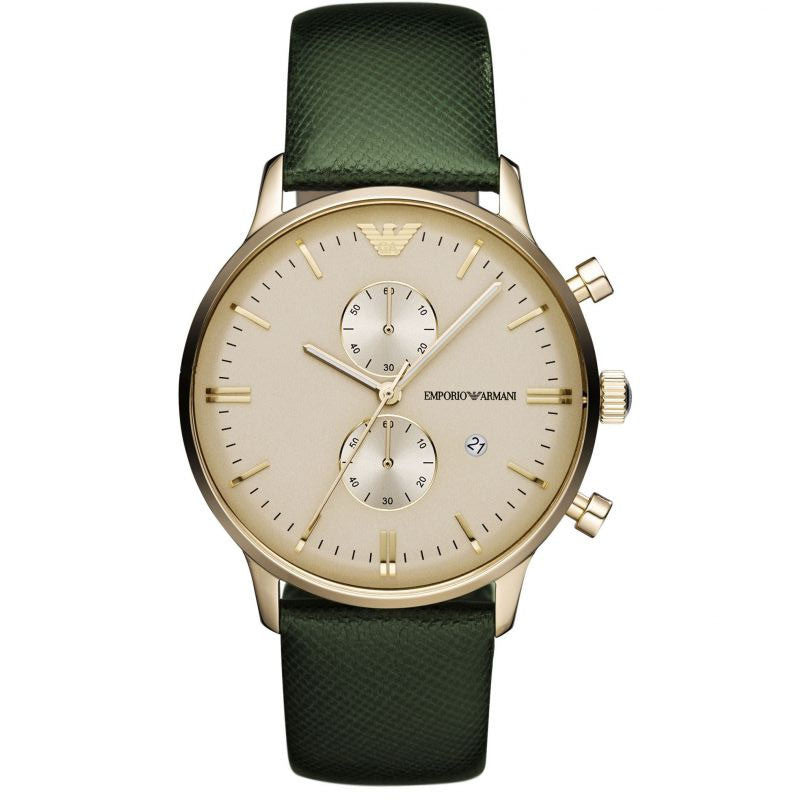 Emporio Classic Chronograph Gold Dial Green Leather Men's Watch