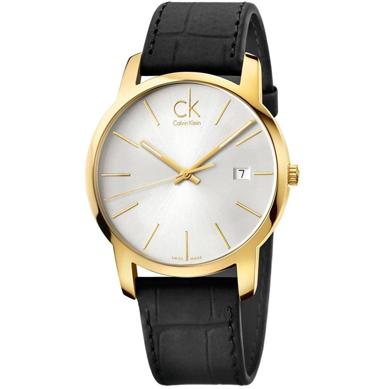 City Date Gold Tone Black Leather Men's Watch