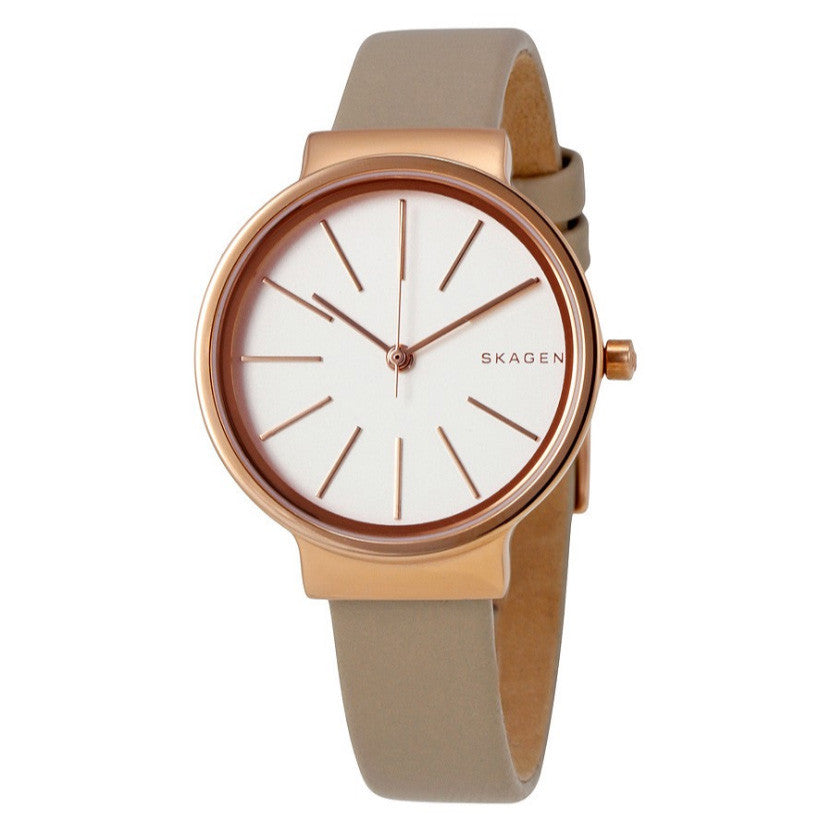 Ancher White Dial Ladies Beige Watch