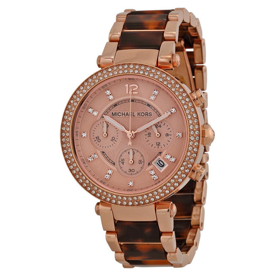 Parker Chronograph Rose Dial Rose Gold-plated Tortoise-shell Acetate Ladies Watch