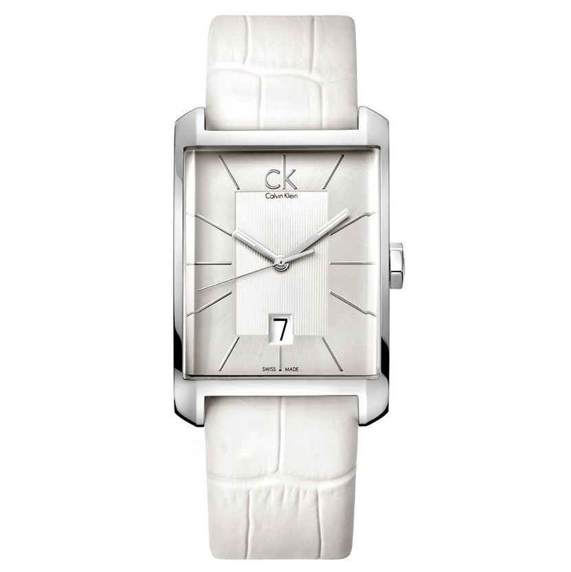 Window White Leather Men's Watch
