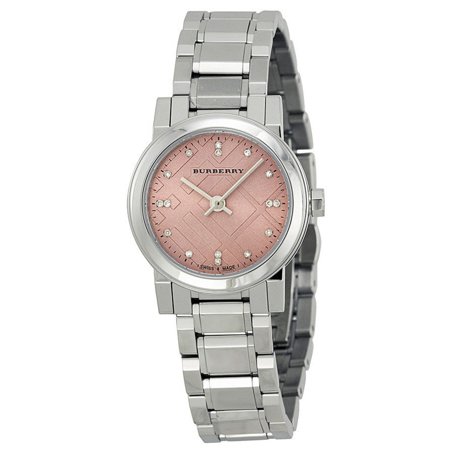Diamond Pink Dial Stainless Steel Ladies Watch