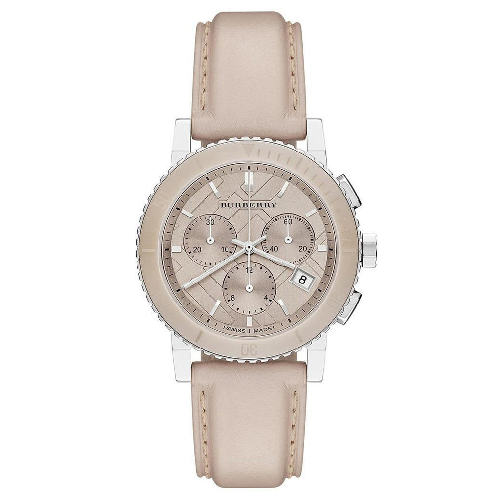 The City Chronograph Gold Dial Beige Leather Ladies' Watch