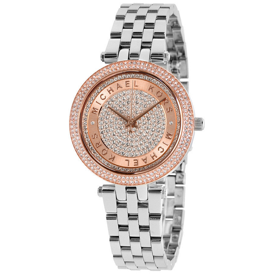 Mini Darci Crystal Pave Dial Two Tone Ladies Watch