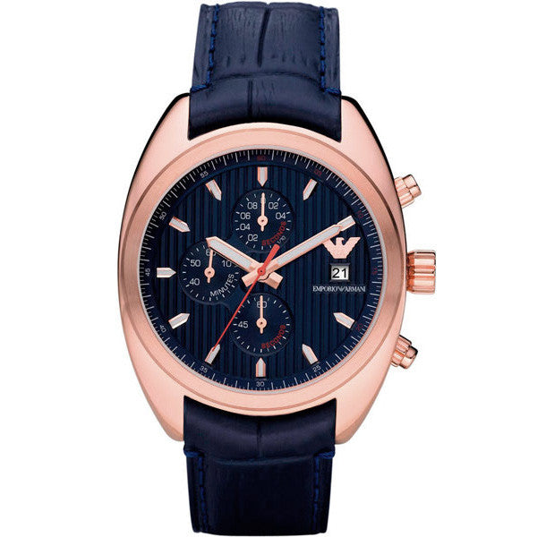 Chronograph Blue Dial Rose Gold Men's Watch