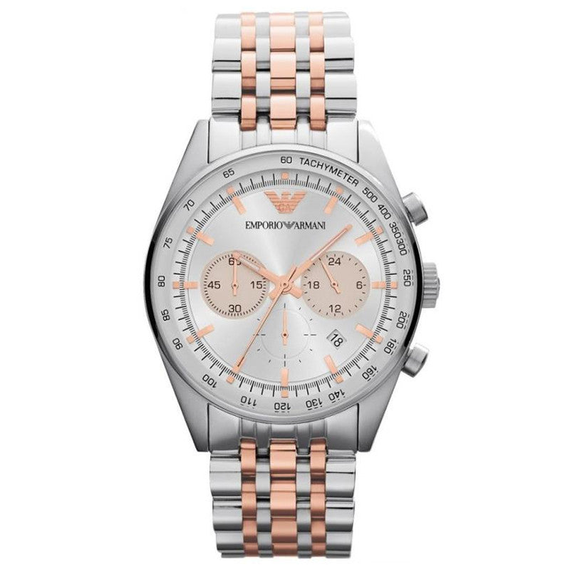 Silver Dial Chronograph Two Tone Stainless Steel Men's Watch