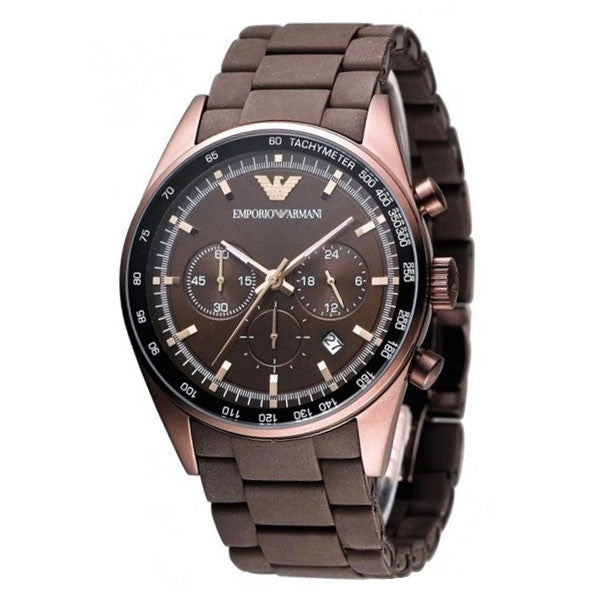 Brown Dial Chronograph Brown Silicone Men's Watch