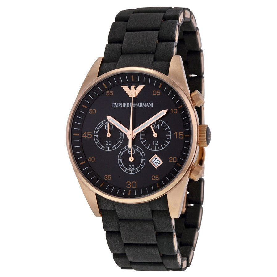 Chronograph Black Dial Rose Gold Men's Watch