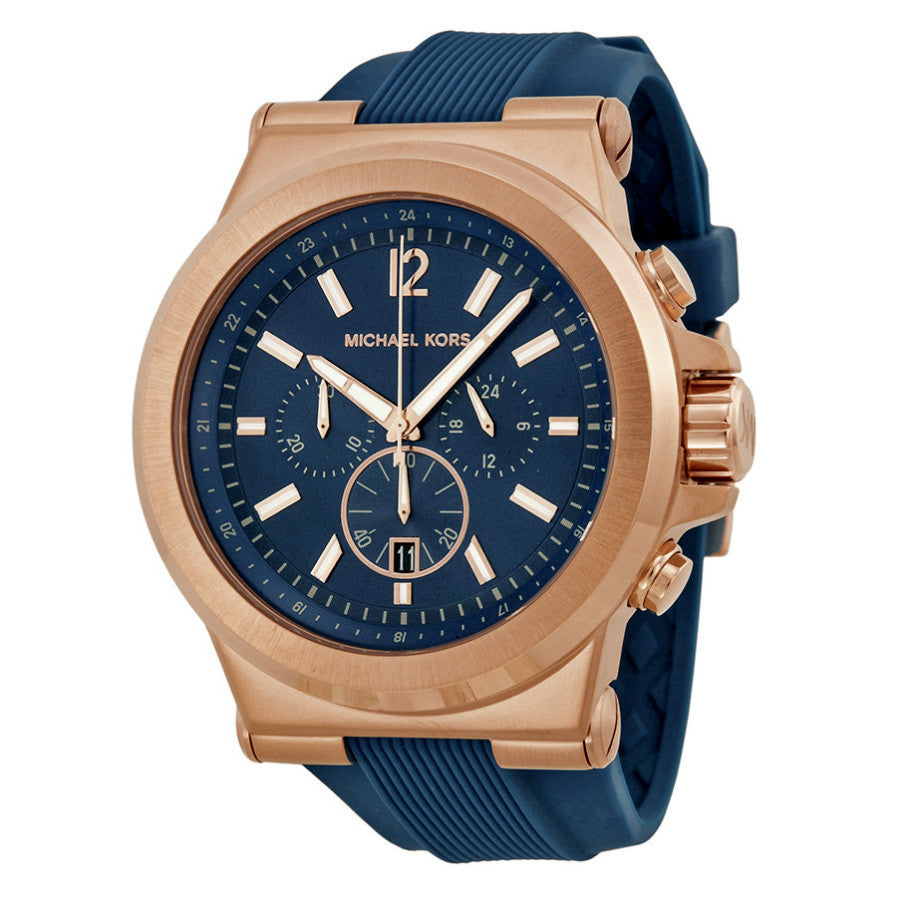 Dylan Navy Dial Rose Gold-tone Navy Silicone Strap Men's Watch