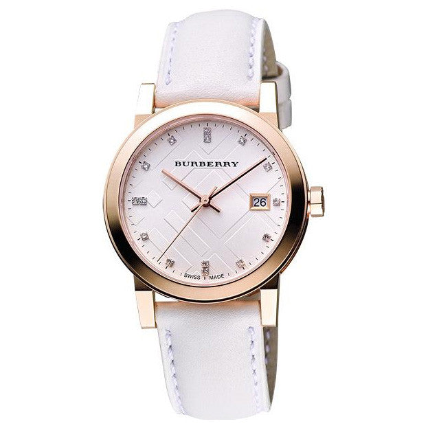 The City Check Stamped White Dial Swiss Ladies Watch