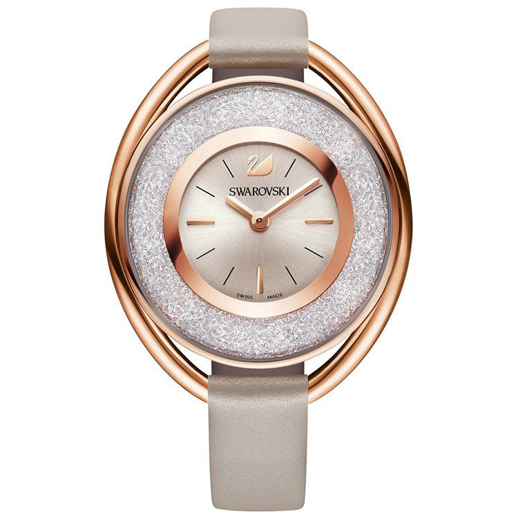 Crystalline Rose Gold-tone Brown Leather Strap Ladies Watch