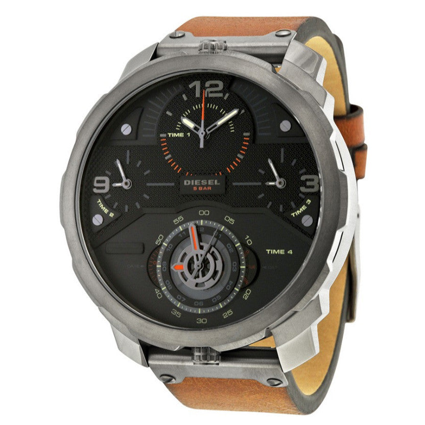 Machinus Chronograph Four Time Zone Dial Brown Leather Men's Watch