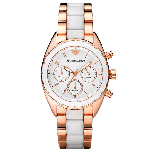 Chronograph White Dial Two-tone Ladies' Watch