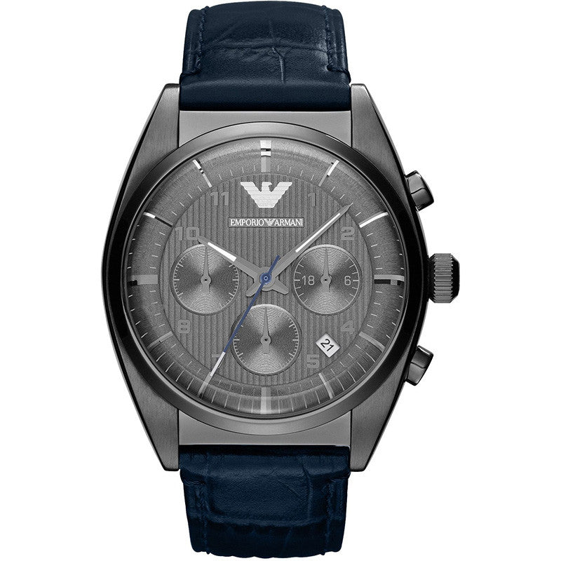 Chronograph Grey Dial Blue Leather Men's Watch