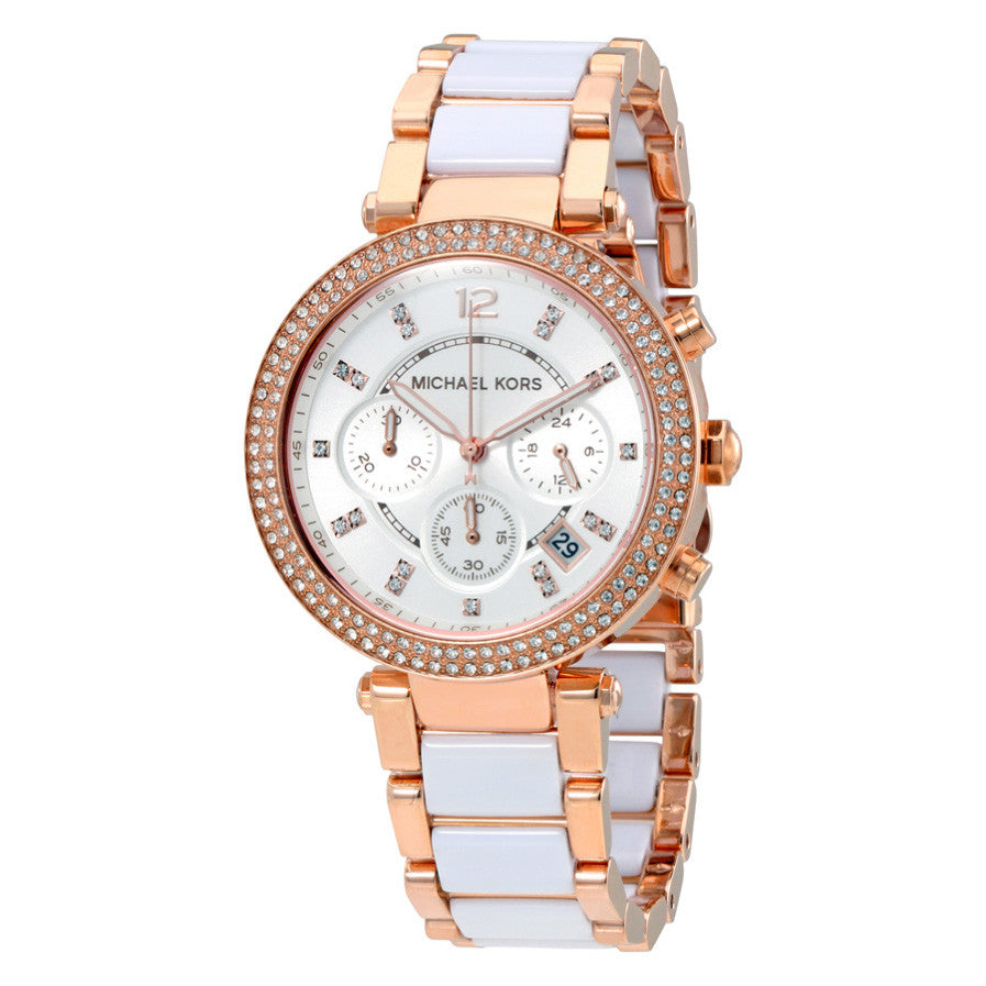 Parker Chronograph White Dial Rose Gold-tone and White Acetate Ladies Watch