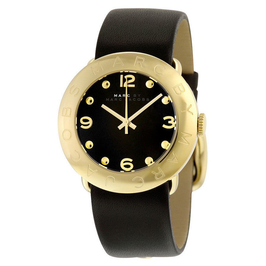 Marc Jacobs Amy Black Dial Gold Ion-plated Bezel Ladies Watch