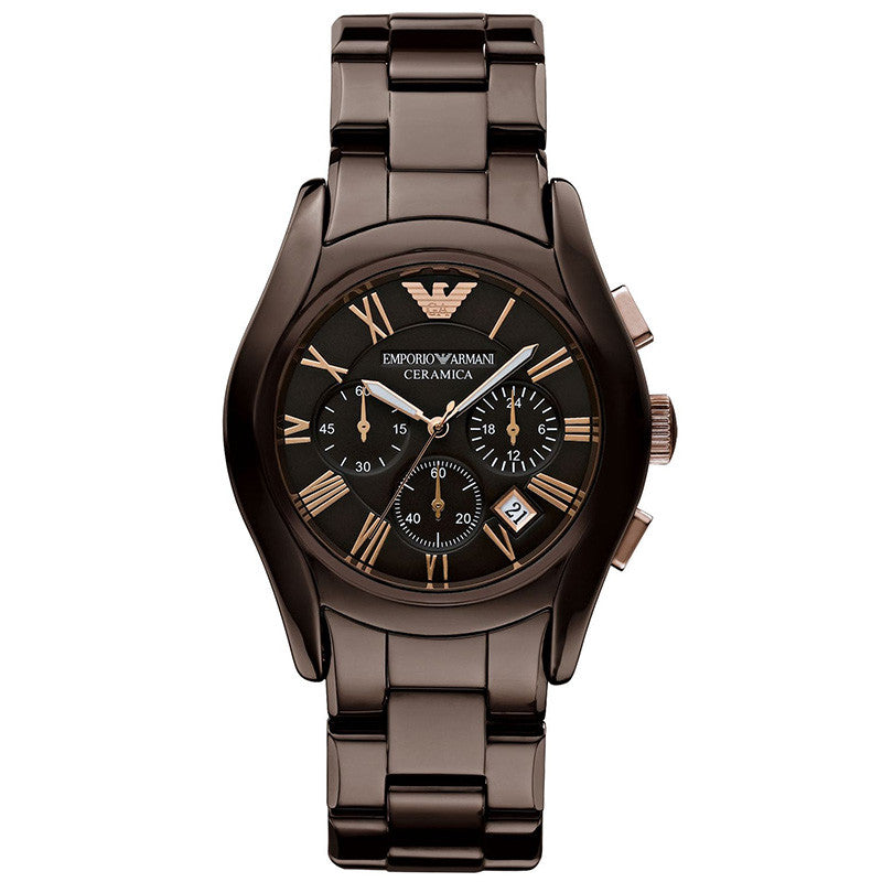 Chronograph Brown Dial Brown Ceramic Men's Watch