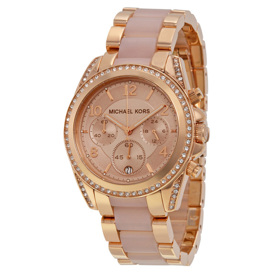 d996f2b230ba ... Blair Chronograph Rose Dial Rose Gold-tone and Acetate Ladies Watch ...