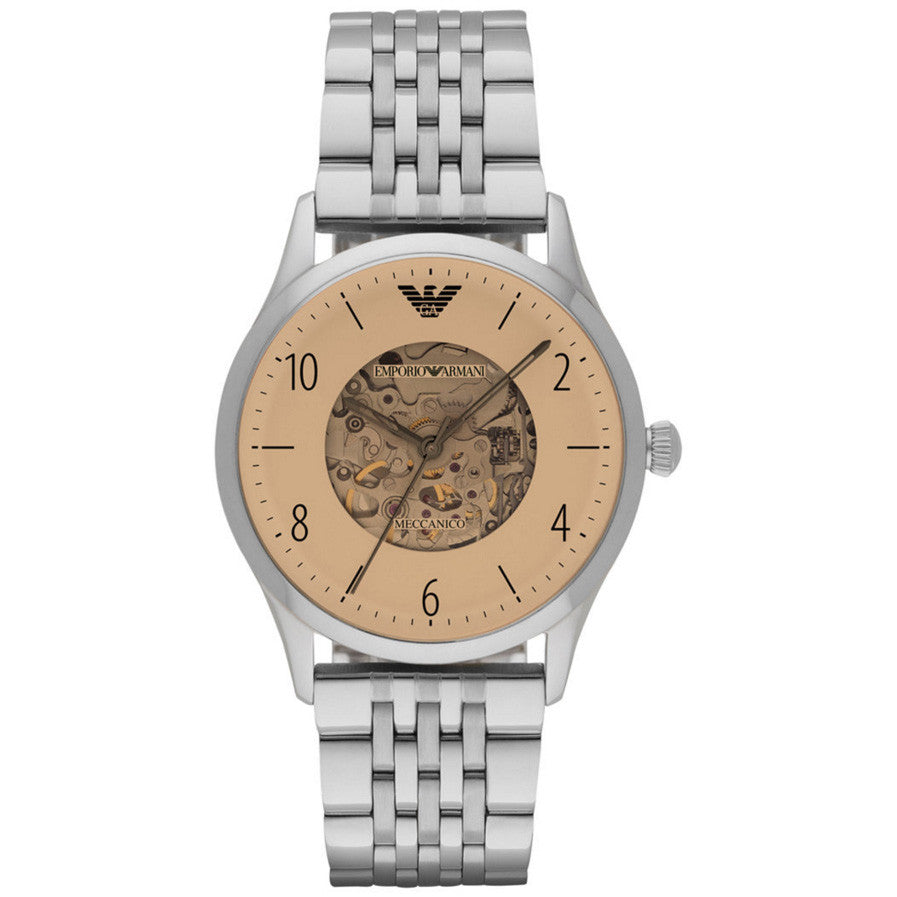 Dress Beige Dial Men's Stainless Steel Watch