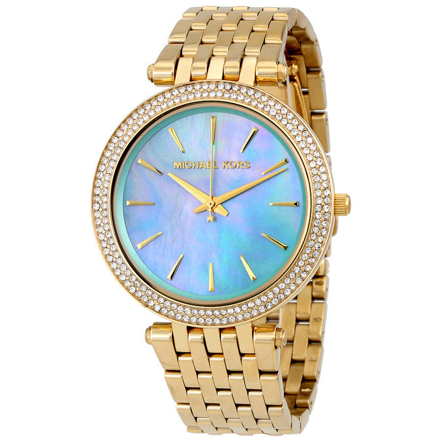 Darci Blue Green Mother of Pearl Dial Gold-tone Stainless Steel Ladies Watch
