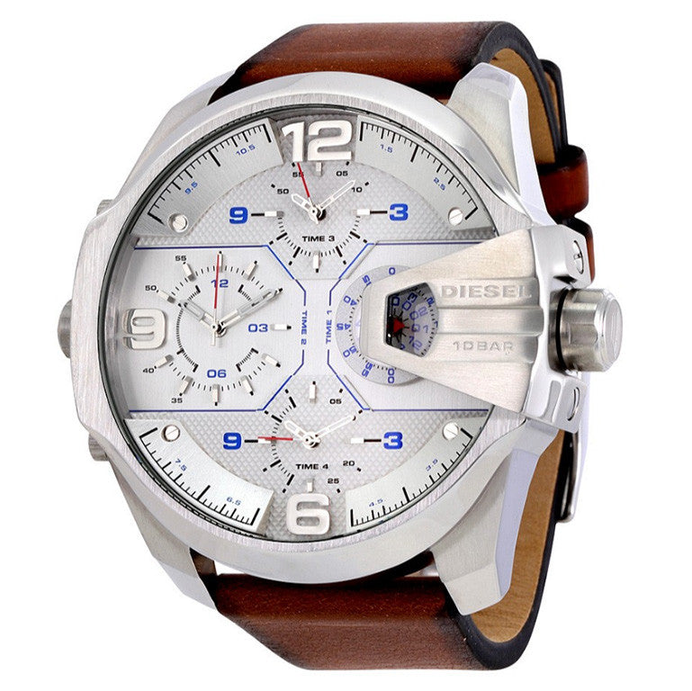 Uber Chief Silver Dial Brown Leather Men's Watch
