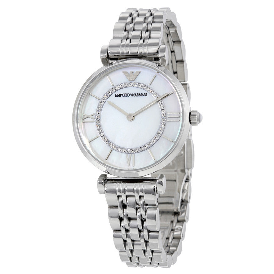 Emporio Classic Mother Of Pearl Dial Stainless Steel Ladies Watch