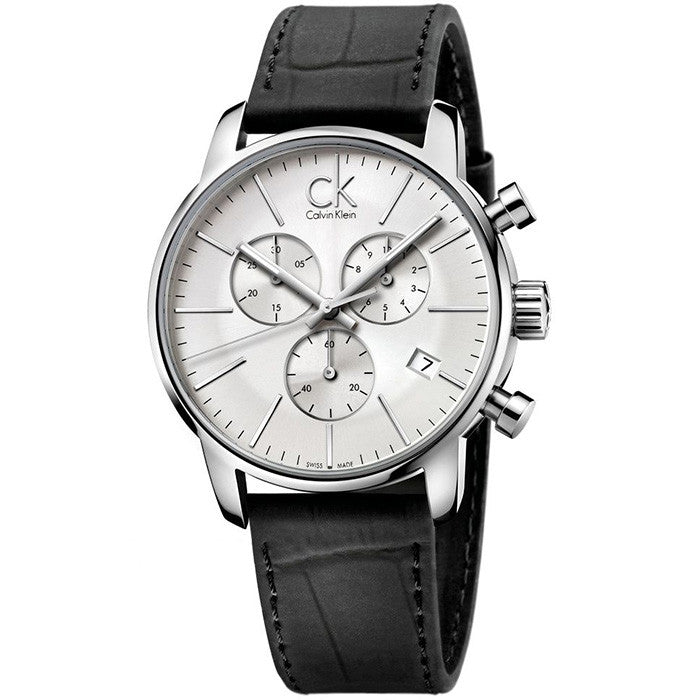 City Chronograph White Black Leather Men's Watch