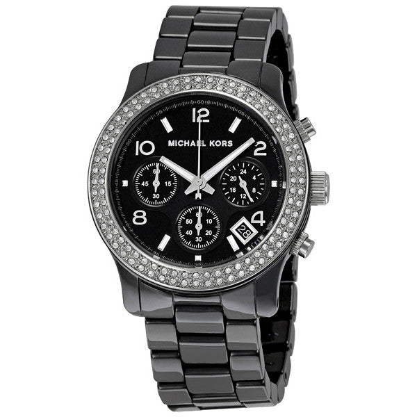 Black Dial Black Ceramic Bracelet Chronograph Watch