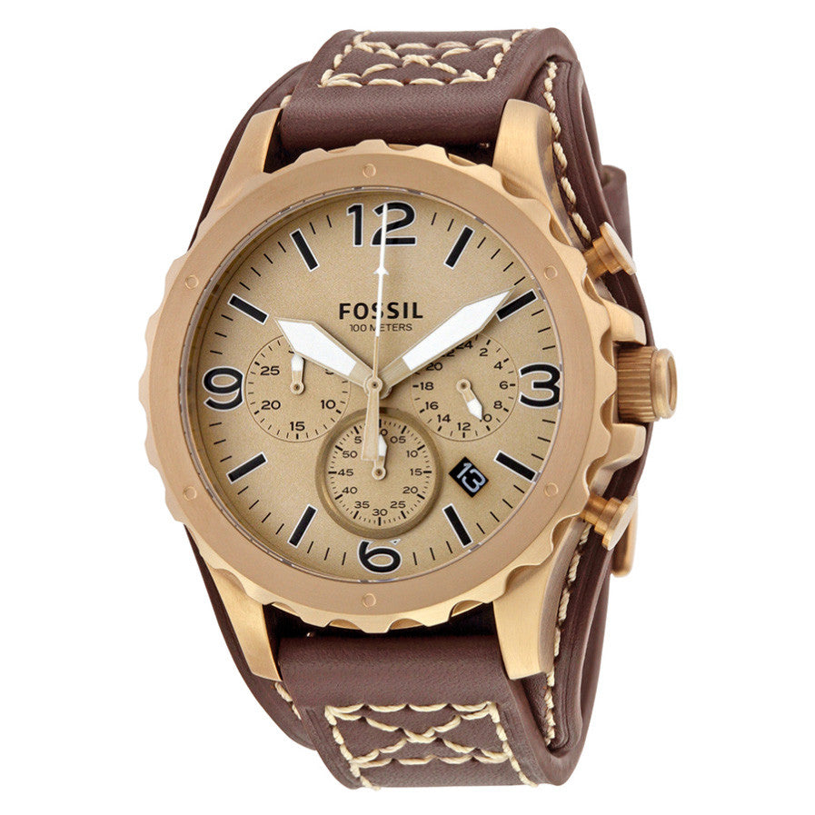 Nate Gold-tone Chronograph Brown Leather Men's Watch