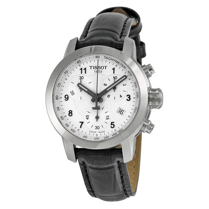 PRC200 Chronograph Silver Dial Black Leather Ladies Watch