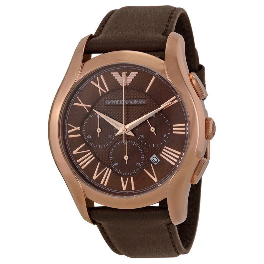 Chronograph Brown Dial Brown Leather Strap Men's Watch