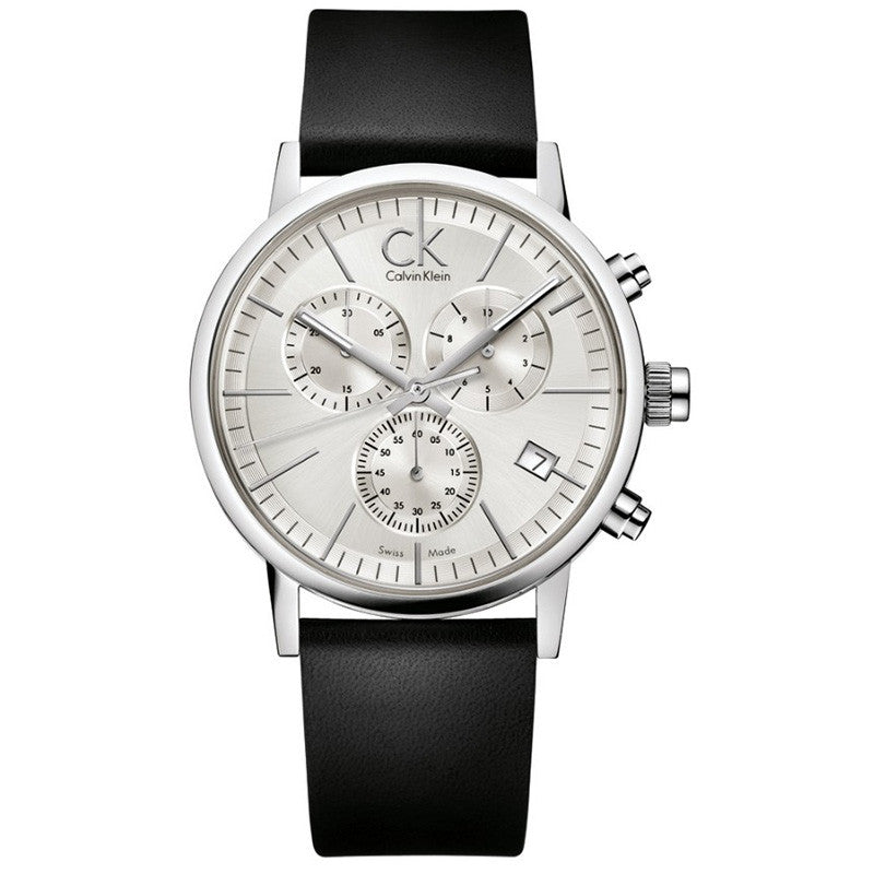 Post Minimal Chronograph White Dial Black Leather Men's Watch