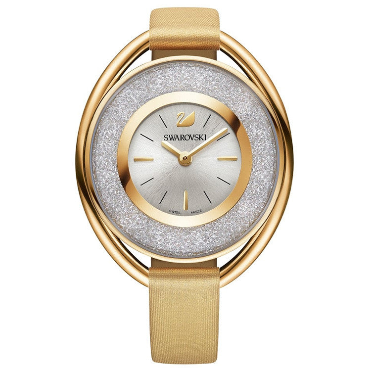 Crystalline Gold-tone Gold Fabric Ladies Watch
