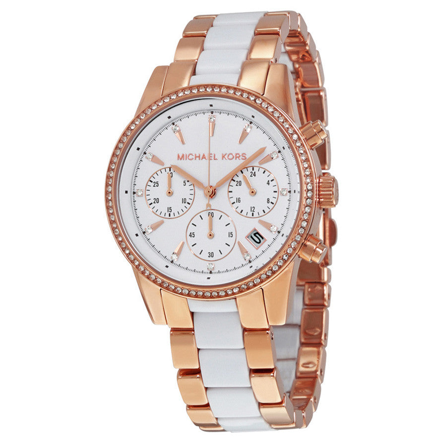 Ritz Quartz Chronograph White Dial Rose Gold-tone White Acetate Ladies Watch