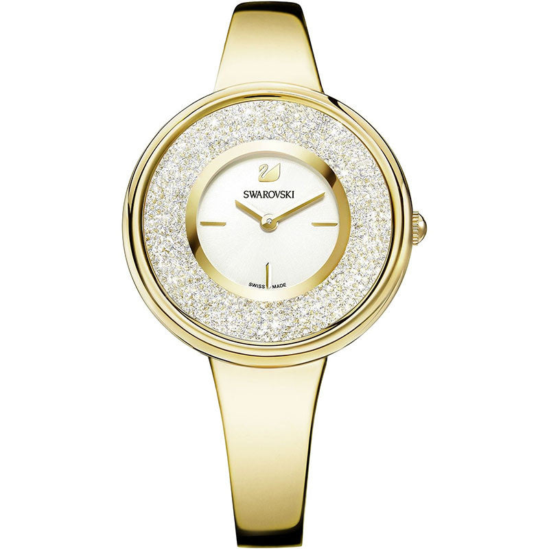 Crystalline White Dial Gold-tone Ladies Watch