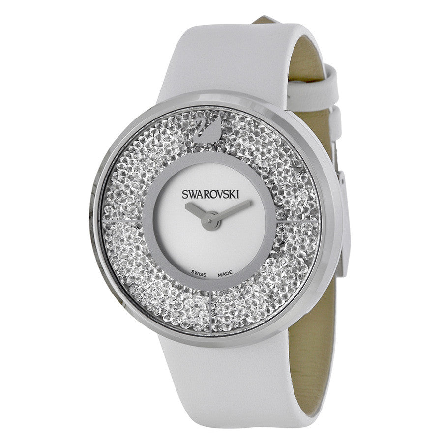 Crystalline White Dial Calfskin Leather Strap Quartz Ladies Watch