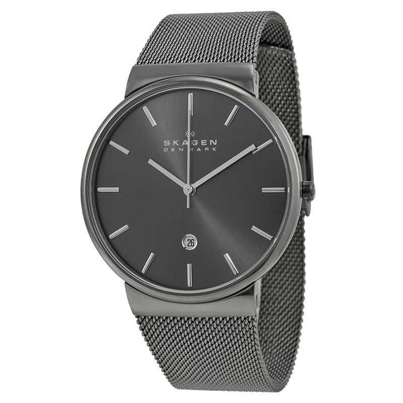 Ancher Grey Dial Grey Ion-plated Mesh Men's Watch