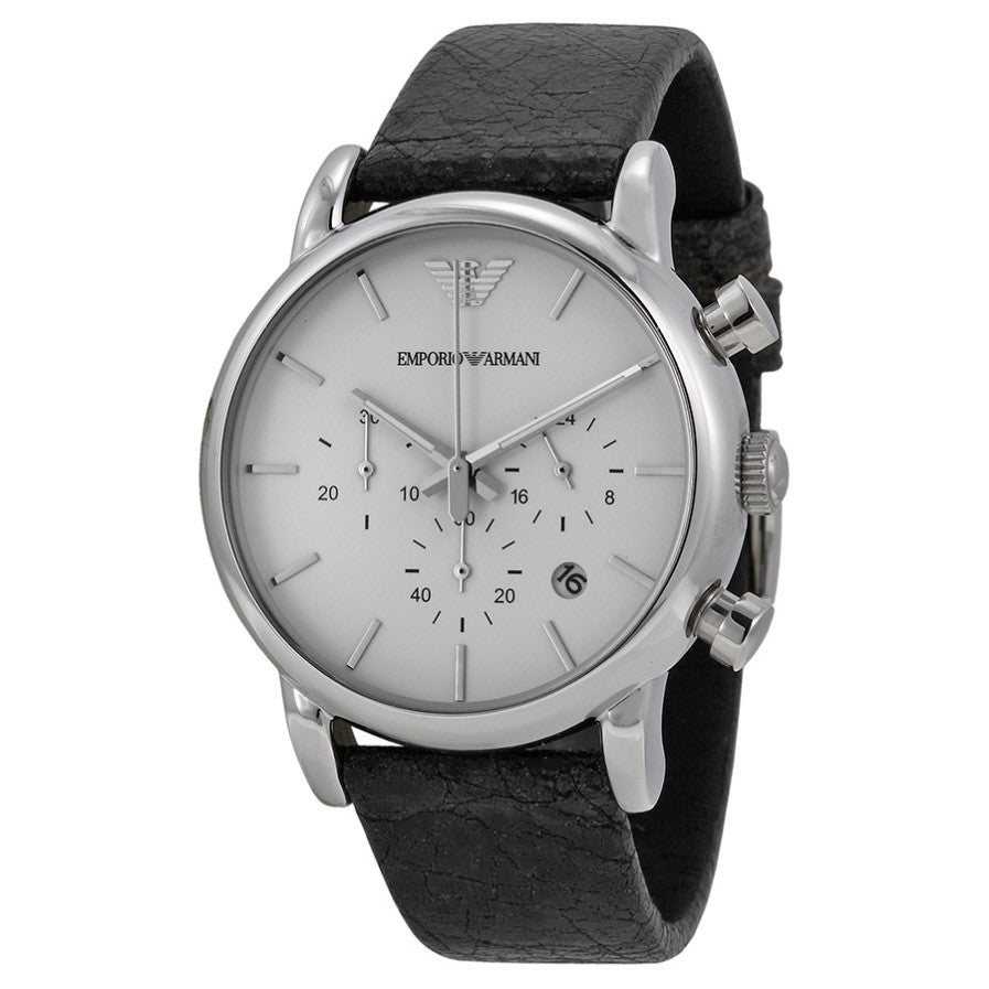 Emporio Classic Chronograph White Dial Black Leather Men's Watch