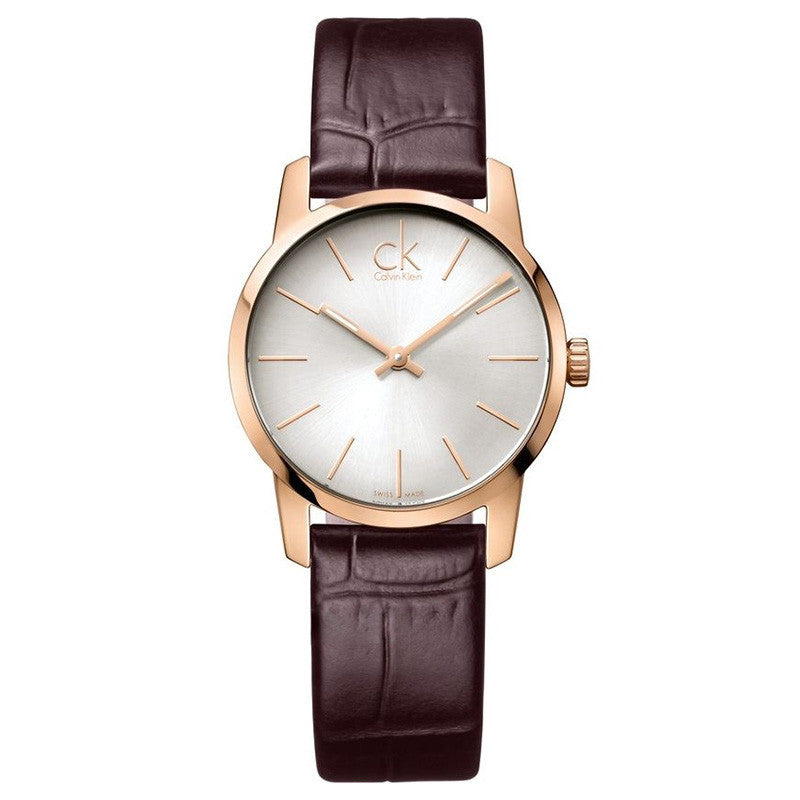 City Silver Dial Brown Leather Ladies' Watch