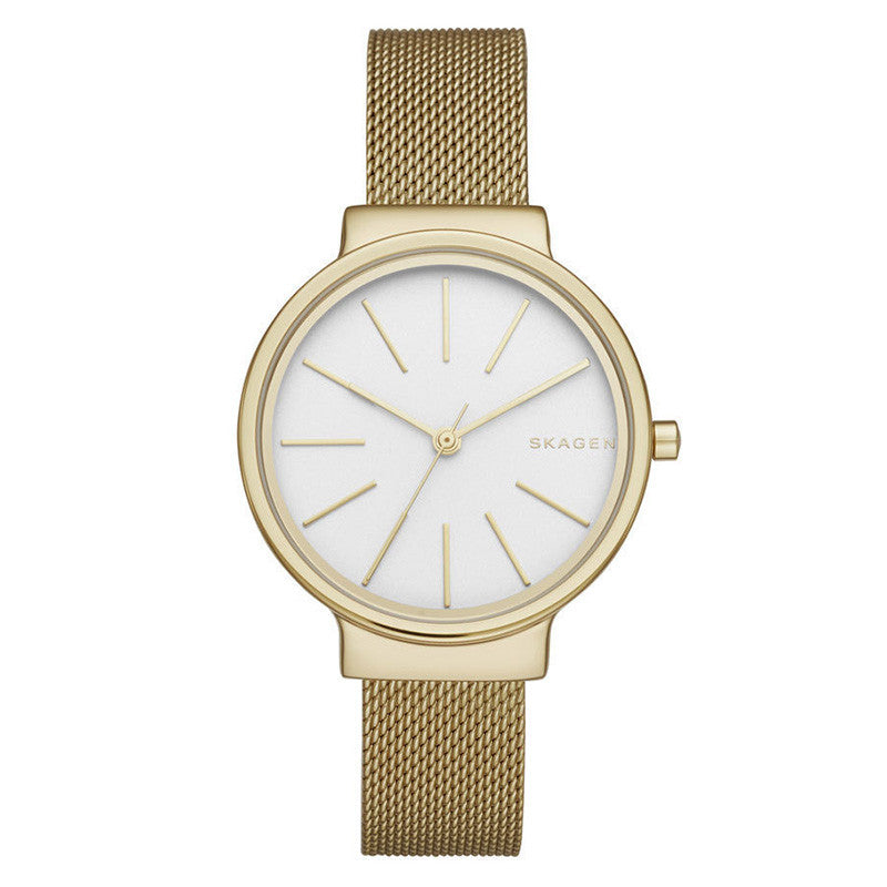Ancher Off White Dial Gold-tone Mesh Ladies Watch