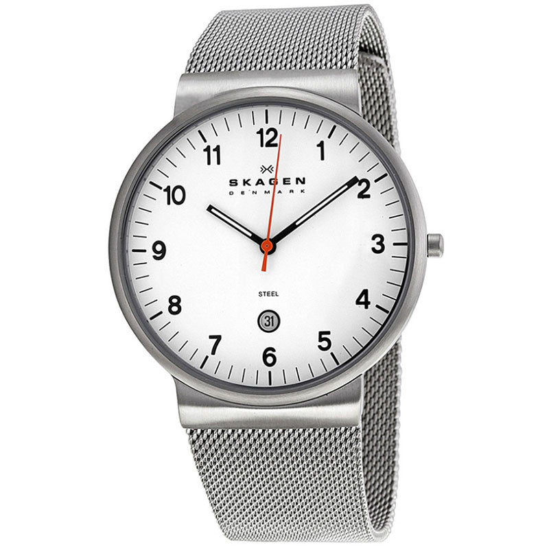 White Dial Stainless Steel Mesh Men's Watch