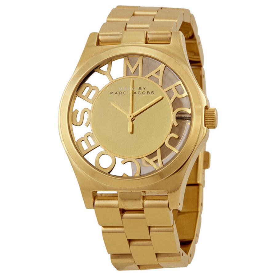 Marc Jacobs Henry Skeleton Gold Dial Gold-Tone Stainless Steel Ladies Watch