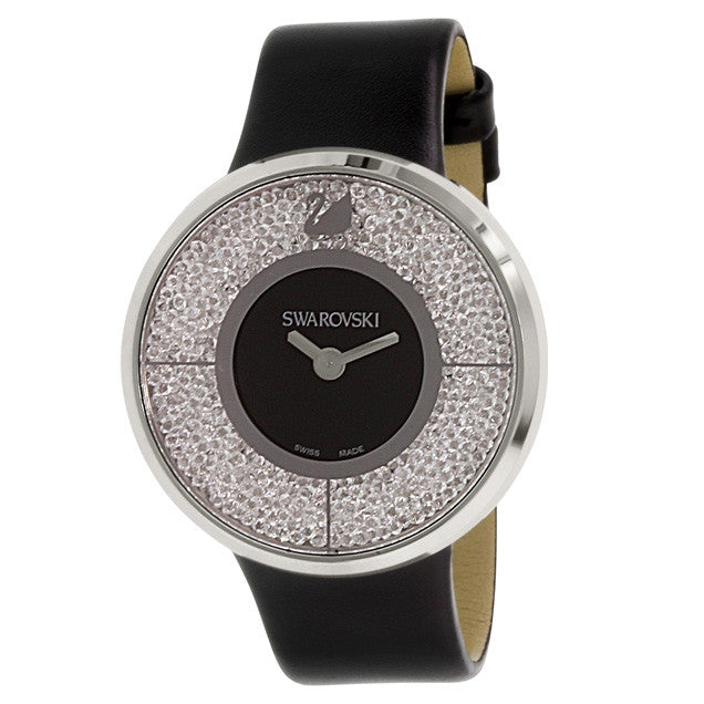 Crystalline Black Dial Calfskin Leather Strap Quartz Ladies Watch