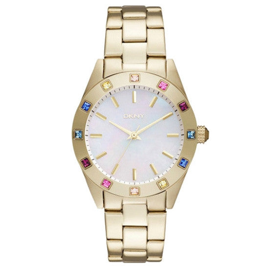 Glitz White Mother of Pearl Dial Gold-tone Bracelet Ladies Watch