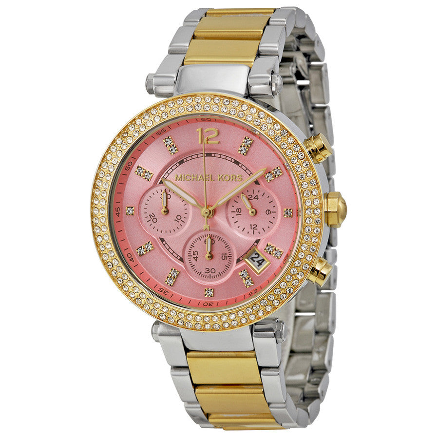 Parker Chronograph Pink Dial Two-tone Ladies Watch